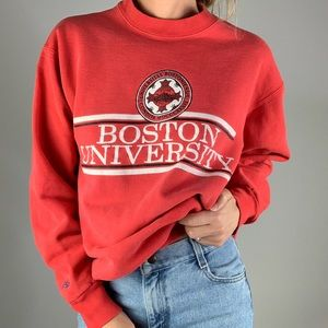 VINTAGE BOSTON UNIVERSITY Red Crewneck Sweatshirt